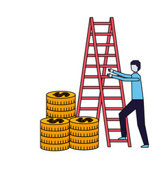businessman climbing stairs stacked coins vector image