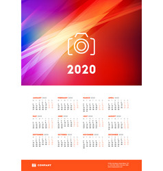 Calendar poster for 2020 year week starts vector