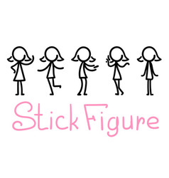 Cartoon doodle stick figure with different pose vector