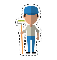 cartoon man painter with roller and cap vector image