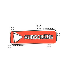 Cartoon subscribe button icon in comic style vector