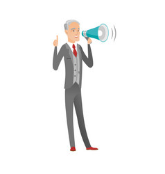 Caucasian businessman talking into loudspeaker vector