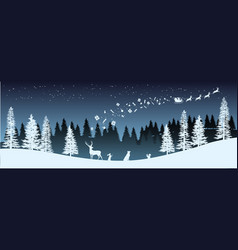 Christmas silhouette panorama of santa claus vector