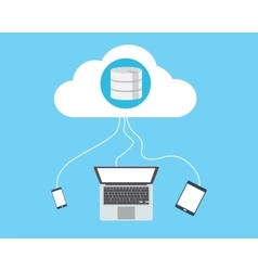 cloud database connecting laptop smartphone and vector image
