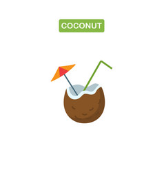 coconut cocktail line icon vector image
