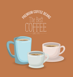 Color poster with set mugs and porcelain cups with vector
