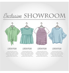 color showroom set of woman casual clothes vector image