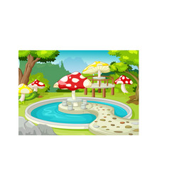 Cool park with waterpool and mushroom building vector