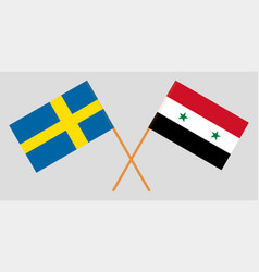 crossed syrian arab republic and sweden flags vector image