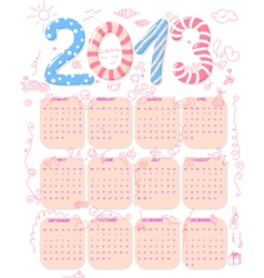 cute 2013 calendar vector image