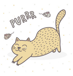 cute purring cat print funny card for children vector image