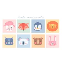 cute simple animal portraits vector image
