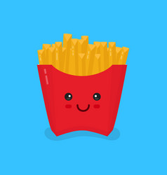 cute smiling happy french fries vector image
