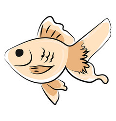fish drawing on white background vector image