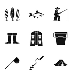 Fishing sport icons set simple style vector