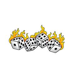 Flaming on fire burning white dice risk taker vector