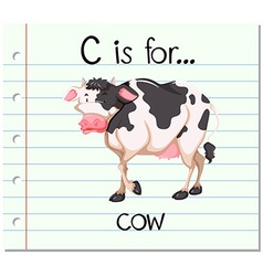 Flashcard letter C is for cow vector