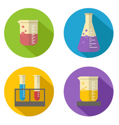 flat chemical liquid in flask and glass icon vector image