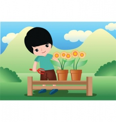 Flower kid vector