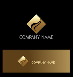 Gold square abstract company logo vector