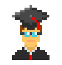 graduation cap student avatar pixel art cartoon vector image