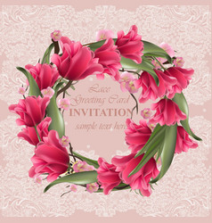 greeting lace card with floral wreath vector image