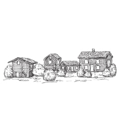 Hand drawn houses sketch doodles tree vector