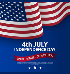 happy 4th july usa independence day with waving vector image