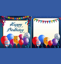 happy birthday card template with blue border and vector image