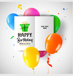 Happy birthday party balloon greeting card vector