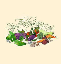 happy thanksgiving day horizontal poster vector image