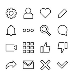 Interface line icons for web and mobile app vector