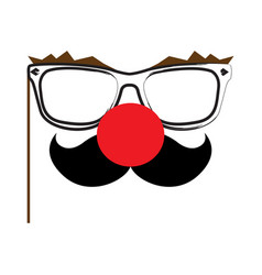 isolated clown glasses vector image