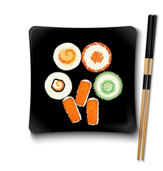 Japanese seafood sushi on a black square plate vector