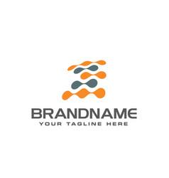 Letter e pixel dot circle spread logo design vector