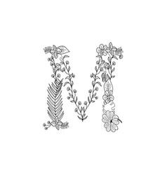Letter m floral ornament vector