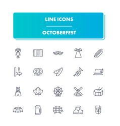 line icons set octoberfes vector image