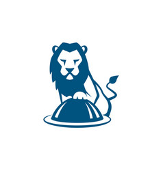 lion cook with restaurant plate vector image