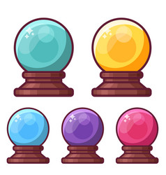 magic crystal sphere or glass ball icons vector image