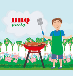 Man cooking meat on grill - invitation to the vector