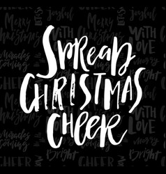 Merry christmas card with calligraphy spread vector