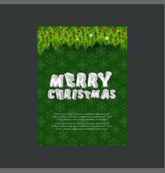 merry christmas green leaves snowflake background vector image