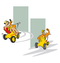 mighty and charming forklift vector image