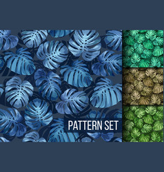 Monstera leaves seamless tropical background set vector
