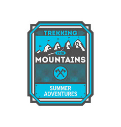 mountains trekking vintage isolated badge vector image