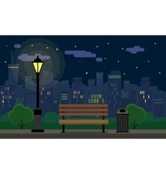 Night Cityscape and bench vector image