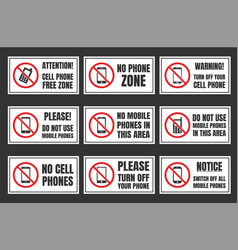 no mobile phone icon set cell phone prohibited vector image