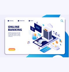 online banking isometric landing page internet vector image