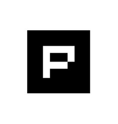 p letter logo with square shape pixel art style vector image