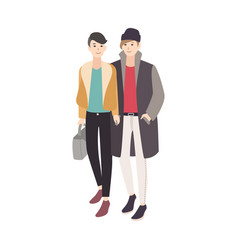 Pair of young men dressed in trendy outerwear vector